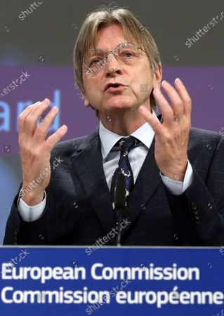 Stock Photo of Member of the European Parliament Guy Verhofstadt addresses the media regarding the Conference on the Future of Europe Executive Board at EU headquarters in Brussels