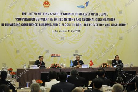 Vietnamese newly-elected President Nguyen Xuan Phuc (C) addresses the virtual meeting on 'Cooperation between the United Nations and regional organizations in enhancing confidence-building and dialogue in conflict prevention and resolution', in Hanoi, Vietnam, 19 April 2021.