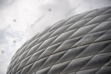 Stock Image of General view of the Allianz Arena, stadium of German Bundesliga side Bayern Munich, in Munich, Germany, 19 April 2021. The Mayor of Munich, Dieter Reiter, said on 19 April 2021, that fans could still be barred from attending EURO 2020 soccer matches in Munich, although the UEFA seeks guarantees that there will be supporters allowed in the stands.