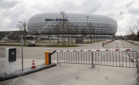General view of the Allianz Arena, stadium of German Bundesliga side Bayern Munich, in Munich, Germany, 19 April 2021. The Mayor of Munich, Dieter Reiter, said on 19 April 2021, that fans could still be barred from attending EURO 2020 soccer matches in Munich, although the UEFA seeks guarantees that there will be supporters allowed in the stands.