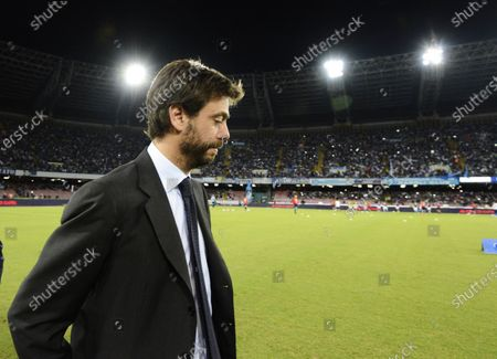 Juventus President Andrea Agnelli arrives for a Serie A soccer match between Napoli and Juventus, at the San Paolo stadium in Naples, Italy. If the stylish and swashbuckling soccer romantic Giovanni Agnelli represented the epitome of club presidents a few generations ago, his nephew Andrea Agnelli's affinity for the cut-throat business side of the sport falls more in line with the American and foreign owners who are gobbling up the European game