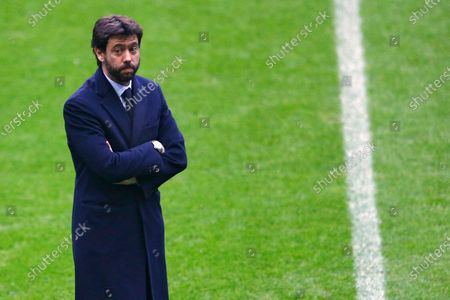 Stock Picture of Dated, Andrea Agnelli, president of Juventus, arrives at the Allianz Arena stadium prior to the Champions League soccer match between Bayern Munich and Juventus Turin in Munich, Germany. If the stylish and swashbuckling soccer romantic Giovanni Agnelli represented the epitome of club presidents a few generations ago, his nephew Andrea Agnelli's affinity for the cut-throat business side of the sport falls more in line with the American and foreign owners who are gobbling up the European game
