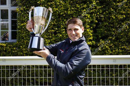 Harry Skelton celebrates his National Hunt Jockeys Championship 2020-2021 win at Sandown. 24/4/2021 Pic Steve Davies