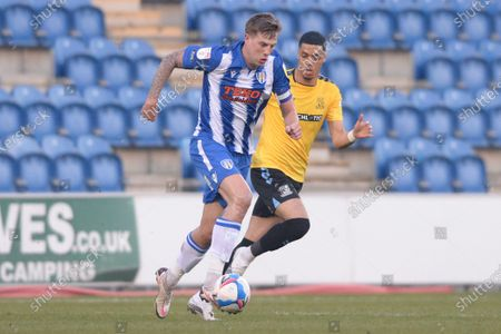 Stock Picture of Harry Pell of Colchester United and Louis Walsh of Southend United in action during Sky Bet League Two match between Colchester United and Southend United at JobServe Community Stadium in Colchester - 20th April 2021