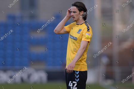 Stock Image of Sam Hart of Southend United in action during Sky Bet League Two match between Colchester United and Southend United at JobServe Community Stadium in Colchester - 20th April 2021