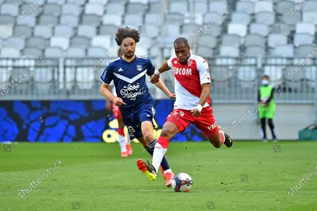 Stock Image of Djibril Sidibe AS Monaco Match in front of Yacine Adli Bordeaux