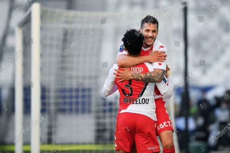 Joie de Stevan Jovetic AS Monaco after his goal with Sofiane Diop
