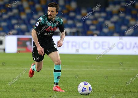 Stock Image of Napoli's Portuguese defender Mario Rui controls the ball