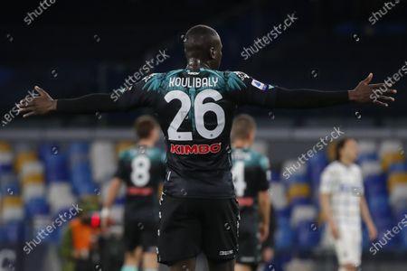 Napoli's Senegalese defender Kalidou Koulibaly gestures