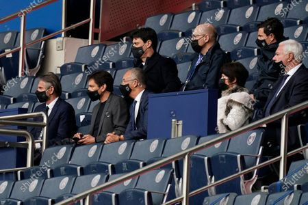 Stock Photo of Front left to right: PSG director general Jean-Claude Blanc, PSG sporting director Leonardo Nascimento de Araujo  and Angers president Said Chabane