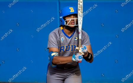Stock Photo of Outfielder Maya Brady stares at her bat before stepping into the batters box during the game against Oregon State at UCLA on April 16, 2021 in Westwood, California. Niece of famed quarterback Tom Brady, Maya iso considered the stand-out athlete of the family and was named Softball America Freshman of the Year after last season's pandemic-shortened season.(Gina Ferazzi / Los Angeles Times)