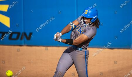 Outfielder Maya Brady at bat during the game against Oregon State at UCLA on April 16, 2021 in Westwood, California. Niece of famed quarterback Tom Brady, Maya iso considered the stand-out athlete of the family and was named Softball America Freshman of the Year after last season's pandemic-shortened season.(Gina Ferazzi / Los Angeles Times)