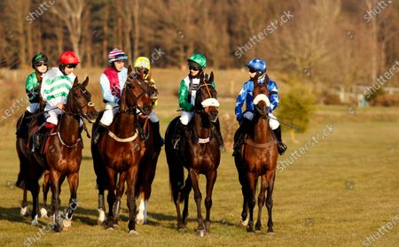 Runners at the start for the Mansionbet Faller Insurance Handicap Chase (L to R); PRESENCE OF MIND (Aidan Coleman) OSCAR WILDE (Henry Brooke) ARTHUR'S SIXPENCE (David Bass) THAT'S A GIVEN (Tom O'Brien) Market Rasen