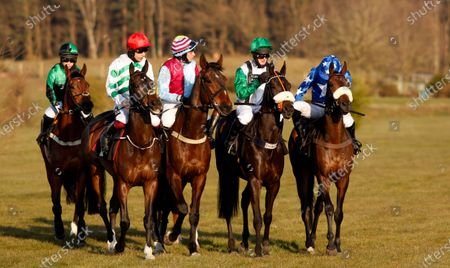 Stock Image of Runners at the start for the Mansionbet Faller Insurance Handicap Chase (L to R); winner MONTY'S AWARD (Page Fuller) PRESENCE OF MIND (Aidan Coleman) OSCAR WILDE (Henry Brooke) ARTHUR'S SIXPENCE (David Bass) THAT'S A GIVEN (Tom O'Brien) Market Rasen