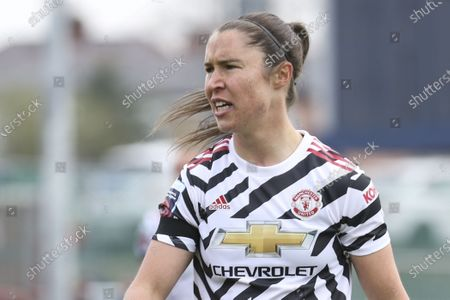 Stock Image of Jane Goldman (19 Manchester United) during the Womens FA Cup fourth round match between Burnley and Manchester United at the Lancashire FA Ground, United Kingdom