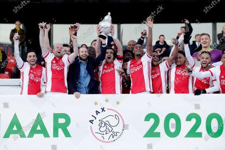 Nicolas Tagliafico, Davy Klaassen, Daley Blind, Dusan Tadic, Ryan Gravenberch, Jurrien Timber, Devyne Rensch, Noussair Mazraoui, Kjell Scherpen during KNVB CUP final Ajax-Vitesse on April, 18 2021 in Rotterdam Netherlands