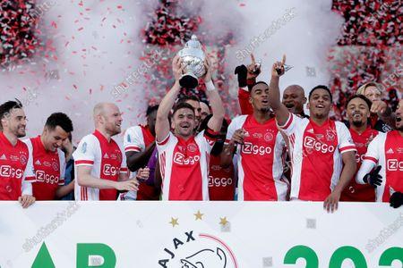 Nicolas Tagliafico, Davy Klaassen, Dusan Tadic, Ryan Gravenberch, Jurrien Timber, Devyne Rensch during KNVB CUP final Ajax-Vitesse on April, 18 2021 in Rotterdam Netherlands