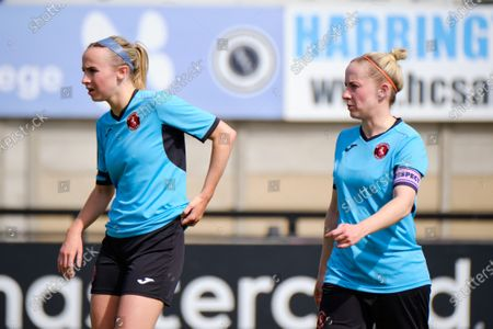 Stock Picture of Vicky Ashton-Jones (6 Gillingham Women) and Georgia Pearch  (4 Gillingham Women)during the FA Cup game between Arsenal and Gillingham at Meadow Park in Borehamwood