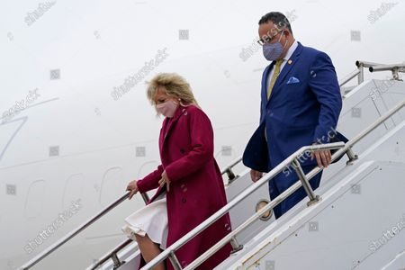 First lady Jill Biden and Education Secretary Miguel Cardona arrive at Quad Cities International Airport in Moline, Ill., . They will be touring the Sauk Valley Community College in Dixon