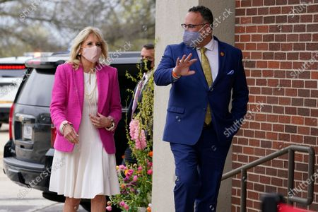 First lady Jill Biden and Education Secretary Miguel Cardona arrive for a visit to the Sauk Valley Community College, in Dixon, Ill