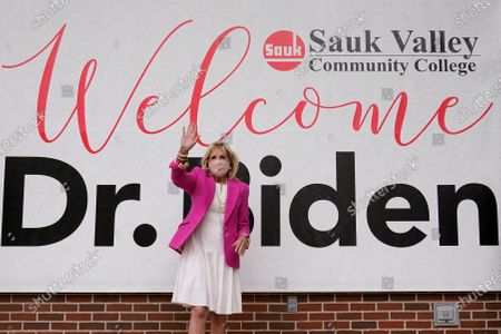 First lady Jill Biden arrives for a visit to the Sauk Valley Community College, in Dixon, Ill
