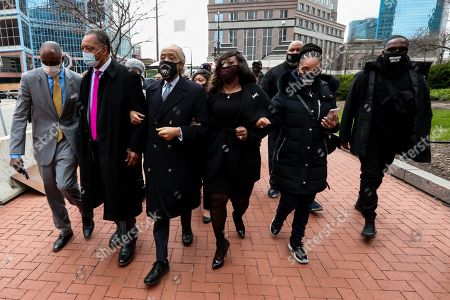 Rev. Reverend Jesse Jackson and Rev. Reverand Al Sharpton at the courthouse on the first day of closing arguments for the murder trial of former Minneapolis police officer Derek Chauvin who was charged in the death of Floyd