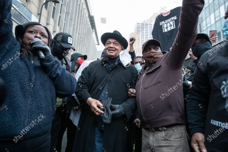 Reverend Jesse Jackson speaks to a crowd on the first day of jury deliberation in the Derek Chauvin trial of the death of George Floyd