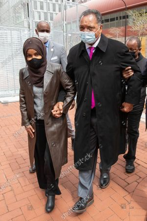 Representative Ilhan Omar and Rev. Reverend Jesse Jackson at the courthouse on the first day of closing arguments for the murder trial of former Minneapolis police officer Derek Chauvin who was charged in the death of Floyd