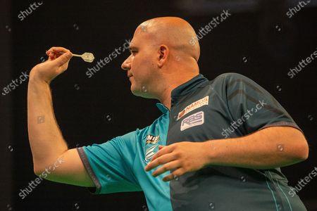 Rob Cross (England) during the PDC Premier League darts at Marshall Arena, Milton Keynes