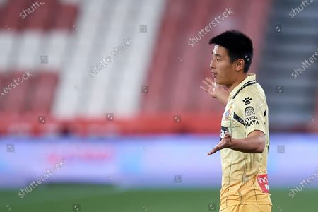 Wu Lei of Espanyol reacts during the La Liga Smartbank match between UD Almeria and RCD Espanyol de Barcelona on April 19, 2021 at Estadio de los Juegos Mediterrraneos in Almeria, Spain. Sporting stadiums around Spain remain under strict restrictions due to the Coronavirus Pandemicwaving to fansGovernment social distancing laws prohibit fans inside venues resulting in games being played behind closed doors.