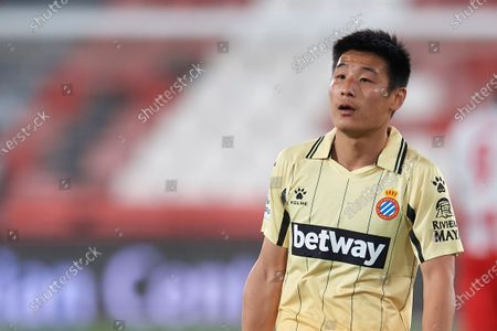 Wu Lei of Espanyol during the La Liga Smartbank match between UD Almeria and RCD Espanyol de Barcelona on April 19, 2021 at Estadio de los Juegos Mediterrraneos in Almeria, Spain. Sporting stadiums around Spain remain under strict restrictions due to the Coronavirus Pandemicwaving to fansGovernment social distancing laws prohibit fans inside venues resulting in games being played behind closed doors.