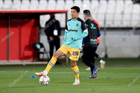 Wu Lei of Espanyol during the warm-up before  the La Liga Smartbank match between UD Almeria and RCD Espanyol de Barcelona on April 19, 2021 at Estadio de los Juegos Mediterrraneos in Almeria, Spain. Sporting stadiums around Spain remain under strict restrictions due to the Coronavirus Pandemicwaving to fansGovernment social distancing laws prohibit fans inside venues resulting in games being played behind closed doors.