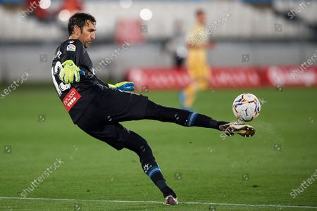 Stock Photo of Diego Lopez of Espanyol does passed during the La Liga Smartbank match between UD Almeria and RCD Espanyol de Barcelona on April 19, 2021 at Estadio de los Juegos Mediterrraneos in Almeria, Spain. Sporting stadiums around Spain remain under strict restrictions due to the Coronavirus Pandemicwaving to fansGovernment social distancing laws prohibit fans inside venues resulting in games being played behind closed doors.