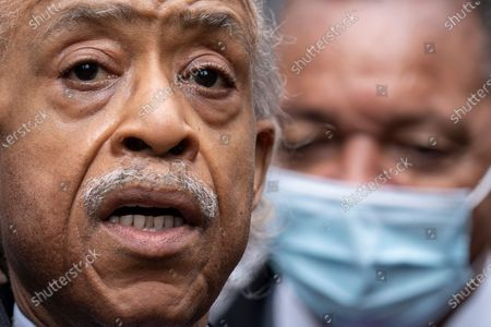 Rev. Al Sharpton, left, speaks alongside Rev. Jesse Jackson, right, during a news conference outside the Hennepin County Government Center before the murder trial against the former Minneapolis police officer Derek Chauvin in the killing of George Floyd advances to jury deliberations, in Minneapolis