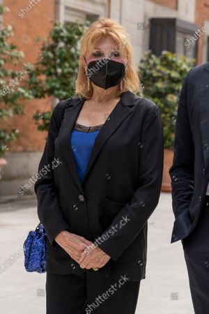 Stock Image of Baroness Thyssen (Carmen Cervera) seen wearing a facemask during the opening of the Georgia O'Keeffe exhibition at the Thyssen-Bornemisza National Museum in Madrid.