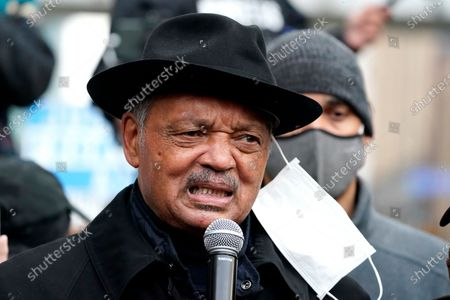 Reverend Jesse Jackson speaks to supporters rallying outside of the Minneapolis Police third precinct in Minneapolis, after the murder trial against former Minneapolis police officer Derek Chauvin advanced to jury deliberations