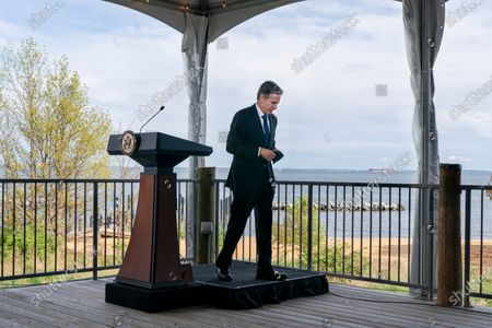 Secretary of State Antony Blinken leaves the podium after speaking about climate change, at the Chesapeake Bay Foundation in Annapolis, Md