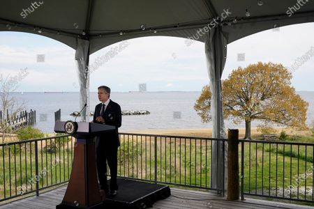 Secretary of State Antony Blinken speaks about climate change, at the Chesapeake Bay Foundation in Annapolis, Md