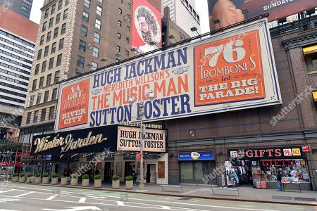 """Stock Photo of Marquee of the Winter Garden Theater decorated with signage for """"The Music Man,"""" starring Hugh Jackman and Sutton Fosters. """"The Music Man"""" producer Scott Rudin faces allegations of creating a hostile work environment."""