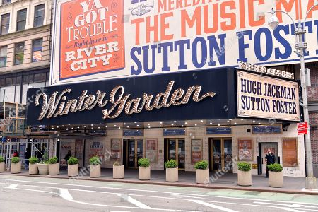 """Marquee of the Winter Garden Theater decorated with signage for """"The Music Man,"""" starring Hugh Jackman and Sutton Fosters. """"The Music Man"""" producer Scott Rudin faces allegations of creating a hostile work environment."""