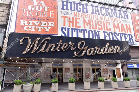 """Stock Picture of Marquee of the Winter Garden Theater decorated with signage for """"The Music Man,"""" starring Hugh Jackman and Sutton Fosters. """"The Music Man"""" producer Scott Rudin faces allegations of creating a hostile work environment."""