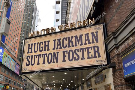 "Marquee of the Winter Garden Theater decorated with signage for ""The Music Man,"" starring Hugh Jackman and Sutton Fosters. ""The Music Man"" producer Scott Rudin faces allegations of creating a hostile work environment."
