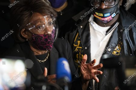 Rep. Maxine Waters, D-Calif., spoke to protesters outside the Brooklyn Center Police Department on April 17, 2020. Protests continued for the seventh consectutive night after former officer Kim Porter killed 20-year-old Daunte Wright in a traffic stop.