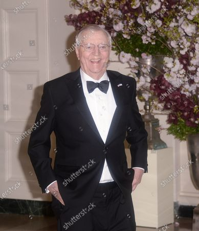 Former Vice President of the United States and former U.S. Ambassador to Japan Walter Mondale, arrives for the State dinner in honor of Japanese Prime Minister Shinzo Abe and Akie Abe at the Booksellers area of the White House in Washington, DC.