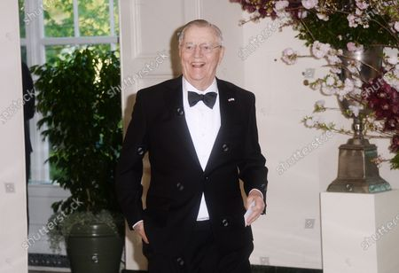 Stock Picture of Former Vice President of the United States and former U.S. Ambassador to Japan Walter Mondale, arrives for the State dinner in honor of Japanese Prime Minister Shinzo Abe and Akie Abe at the Booksellers area of the White House in Washington, DC.