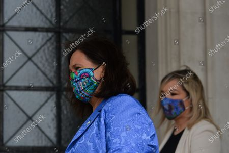 Sinn Fein leader Mary Lou McDonald (L) and deputy leader Michelle O'Neill (R) outside Stormont in Belfast, attending the media briefing following a loyalist protest in the city against Brexit's Northern Ireland Protocol. On Monday, April 19, 2021, in Belfast, Northern Ireland