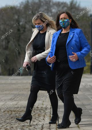 Sinn Fein leader Mary Lou McDonald (R) and deputy leader Michelle O'Neill (L) outside Stormont in Belfast, attending the media briefing following a loyalist protest in the city against Brexit's Northern Ireland Protocol. On Monday, April 19, 2021, in Belfast, Northern Ireland