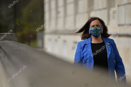 Sinn Fein leader Mary Lou McDonald seen outside Stormont in Belfast, after speaking to the media following a loyalist protest in the city against Brexit's Northern Ireland Protocol. On Monday, April 19, 2021, in Belfast, Northern Ireland
