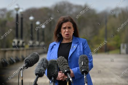 Sinn Fein leader Mary Lou McDonald seen outside Stormont in Belfast, speaking to the media following a loyalist protest in the city against Brexit's Northern Ireland Protocol. On Monday, April 19, 2021, in Belfast, Northern Ireland