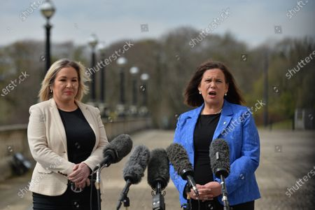 Sinn Fein leader Mary Lou McDonald (R) and deputy leader Michelle O'Neill (L) outside Stormont in Belfast, speaking to the media following a loyalist protest in the city against Brexit's Northern Ireland Protocol. On Monday, April 19, 2021, in Belfast, Northern Ireland